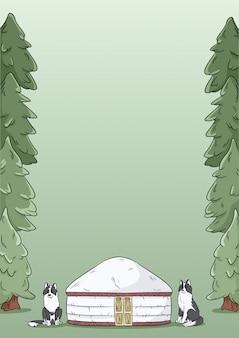 Schablonendesign mit 4 buchstaben mit yurt, sibirischen laika-hunden und grünem waldtannenbaumhintergrund