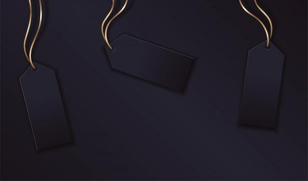 Schablonendesign mit leerem etikett auf goldenem seil