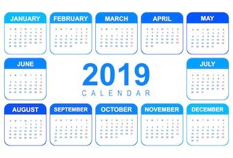 Schablonenentwurf des eleganten Kalenders buntes 2019