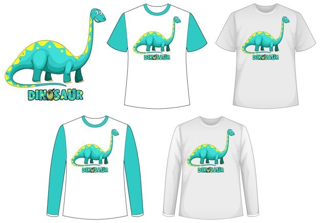 Schablonenhemd mit dinosaurier-zeichentrickfigur