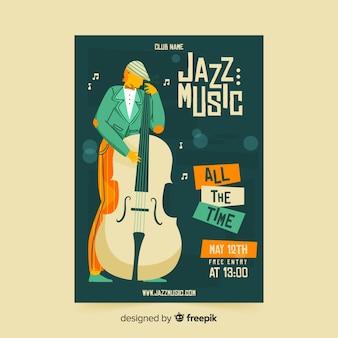 Schablonenjazz-musikplakat im von hand gezeichneten design
