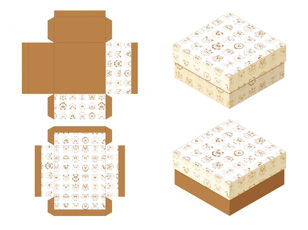 Schablonenpapier-geschenkpaket mit niedlichen karikaturtieren