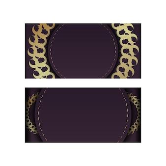 Schablonenpostkarte in burgunderfarbe mit einem goldenen mandala-ornament für ihre glückwünsche.