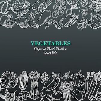 Schablonenränder mit handgezeichnetem gemüse
