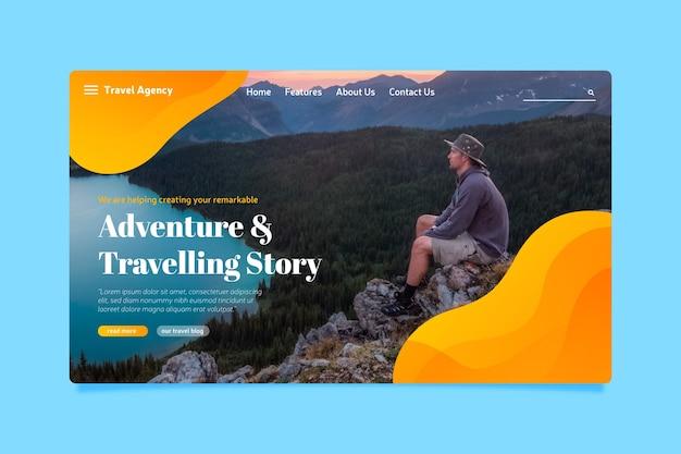 Schablonenreiselandungsseite mit foto