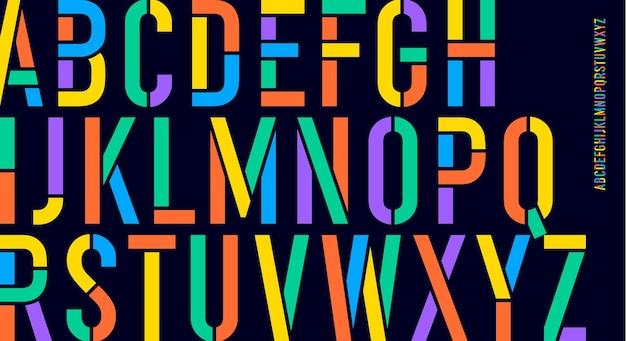 Schablonenschrift. buntes, komprimiertes alphabet und linienschrift