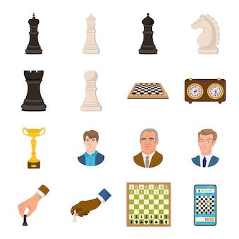 Schach-cartoon-set-symbol. spiel. getrenntes gesetztes ikonenschach der karikatur.