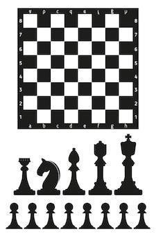 Schachbrett und schwarze schachfiguren auf weißem hintergrund