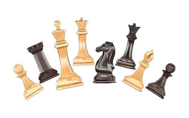 Schachbrettspiel schachfiguren aus bunten farben spritzer aquarellfarbener zeichnung