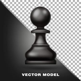 Schachfigur bauer schwarze farbe werkzeug für spiel sportgeräte 3d realistisch