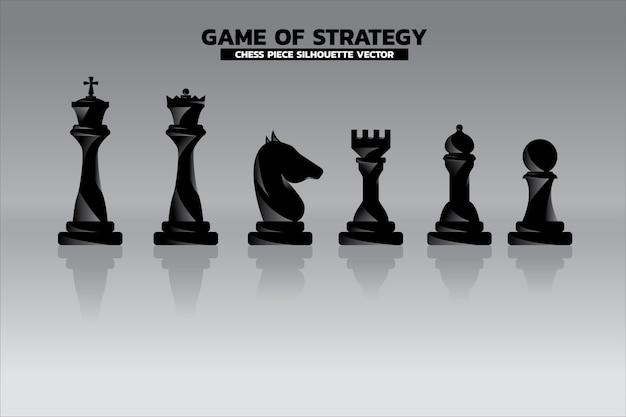 Schachfigur silhouette. symbol für unternehmensplanung und strategiedenken