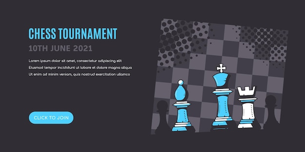 Schachfiguren auf blauem schwarzem hintergrund mit schachbrett. schachturnier-banner-vorlage