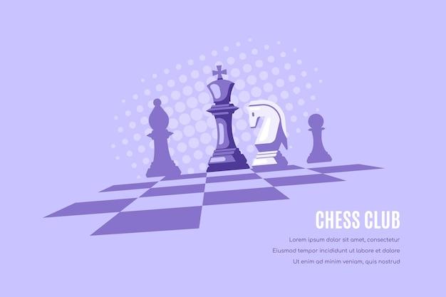 Schachfiguren auf schachbrett und halbtöne auf hintergrund. schachclub-vorlage.