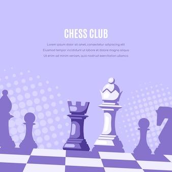 Schachfiguren auf schachbrett und halbtöne auf hintergrund.