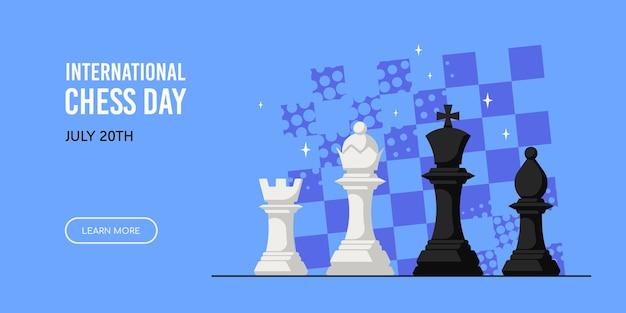 Schachfiguren gegen schachbrett isoliert auf weißem hintergrund. internationales schachtag banner