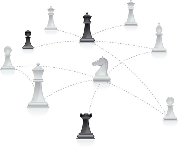 Schachfiguren in einem netzwerk verbunden
