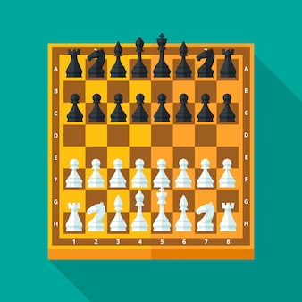 Schachfiguren und brett im modernen stil für konzept und web. illustration.