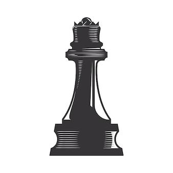 Schachkönigin vektorlinie kunstillustration.
