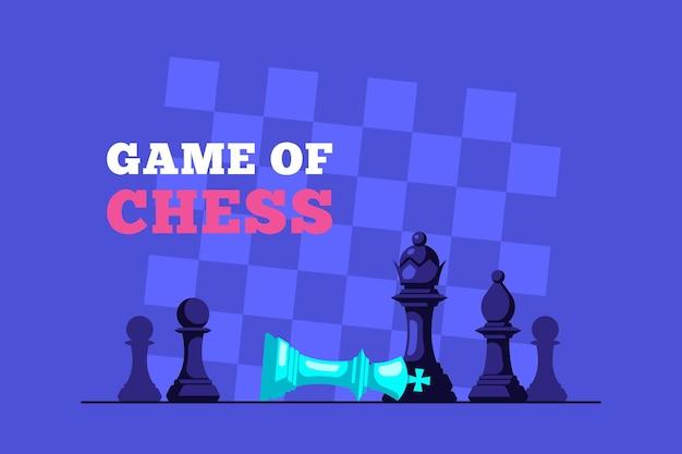 Schachmatt. schachspiel. schachkönig, der auf schachbrett und königinfigur darüber liegt. schachbrett auf hintergrund