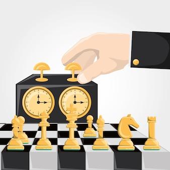 Schachspiel und hand, die eine schachuhrikone berühren