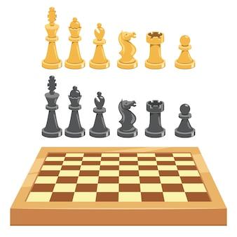 Schachspielbrett und -stücke