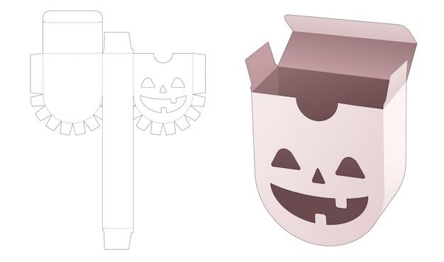 Schachtel mit rundem boden mit gestanzter halloween-musterschablone