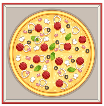 Schachtel pizza mit fleisch- und gemüsebelag