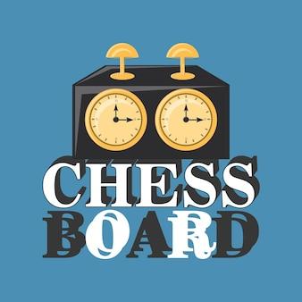 Schachuhr über blauem hintergrund