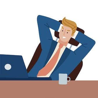 Schadenfreude geschäftsmann sitzt im bürostuhl am schreibtisch mit laptop die figur hat sich etwas ausgedacht ...