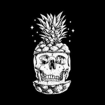Schädel-ananas-sommerillustration