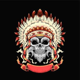 Schädel-apache-illustration. geeignet für t-shirt, print und merchandise-produkte