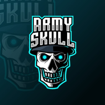 Schädel armee hut maskottchen gaming logo vorlage