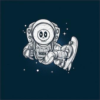 Schädel astronaut in space surf