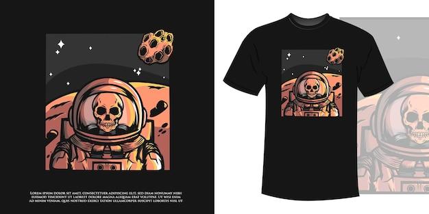Schädel-astronaut wartet auf kolonie im weltraum