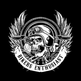 Schädel-biker-abzeichen