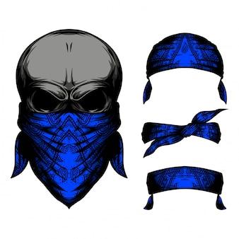 Schädel blaues stirnband