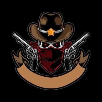 Schädel cowboy mit pistole auf schwarz isoliert