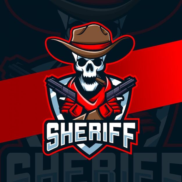 Schädel cowboy mit pistole maskottchen esport logo design