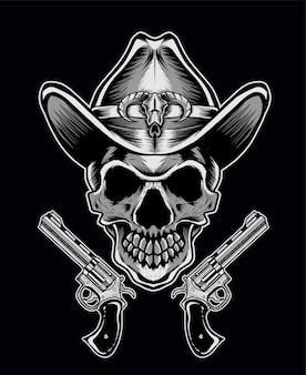 Schädel cowboy mit zwei pistole