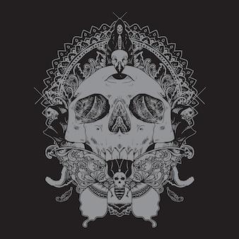 Schädel-dekorative schmetterlings-illustration
