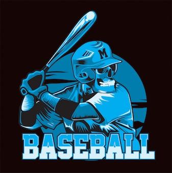 Schädel, der baseball-blau spielt. baseball-spieler werden fertig zu schlagen