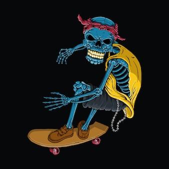 Schädel, der, hand gezeichnet, bunt, vektor skateboard fährt