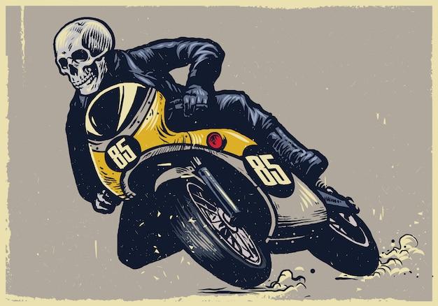 Schädel, der klassisches motorrad reitet