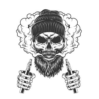 Schädel, der mützenhut in rauchwolke trägt