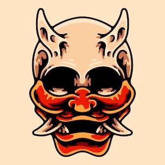 Schädel, der oni-masken-charakter-illustration trägt