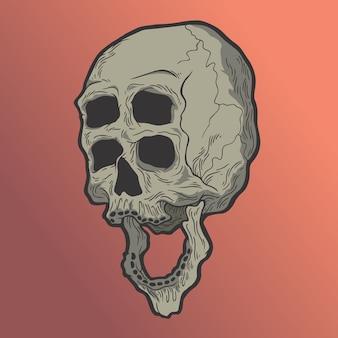 Schädel, der viele augen hat. hand gezeichnete artvektorgekritzel-designillustrationen.