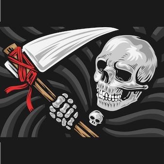 Schädel des sensenmanns mit dem sichel-logo.