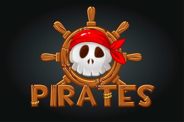 Schädel eines piraten am ruder und eine hölzerne inschrift. ikone für das spiel, gruseliger schädel