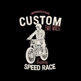 Schädel fahren ein klassisches motorrad