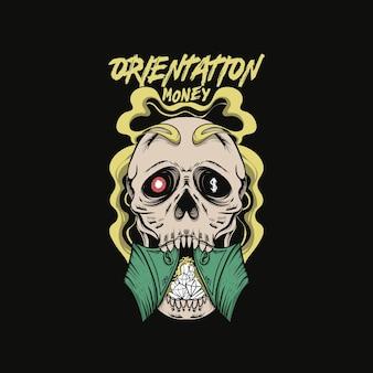 Schädel geld orientierungen pop art illustration t-shirt design